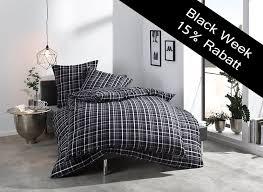 bettwäsche 155x220 schwarz weiß kariert new york bettwaesche mit stil