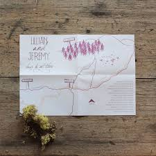 Custom Wedding Map Akimbo Whimsical Woodlan Invitations