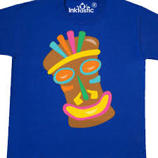 Details About Inktastic Happy Tiki Face Youth TShirt Vacation Luau Party Tee Kids Children