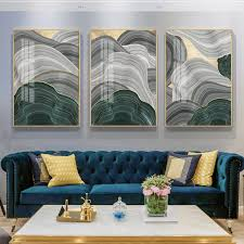 abstract grey green gold foil annual ring canvas modern marble poster luxury wall picture for living room 3d place tableau