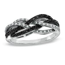 T W Enhanced Black and White Diamond Twine Ring in 10K White