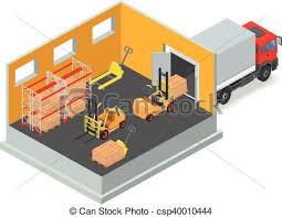 Unloading Of Goods In A Warehouse Using Forklift