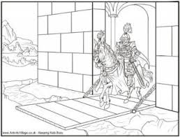 Knight And Drawbridge Colouring Page