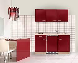 kühlschrank akazie rot duokochplatte und edelstahlspüle