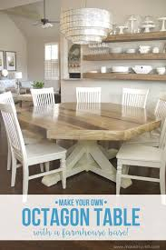Making Dining Room Table Pleasing Decoration Ideas Diy Octagon With Farmhouse Base