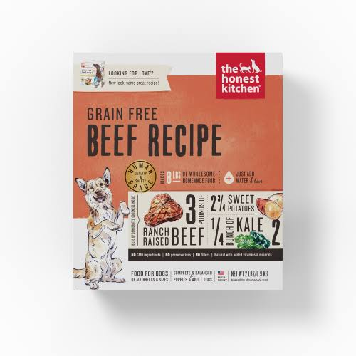 The Honest Kitchen Dehydrated Dog Food Love Grain Free Beef 2 lbs