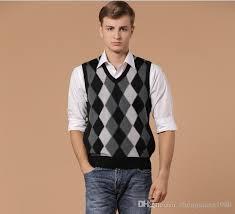 cashmere men diamond plaid sleeveless sweater neck argyle