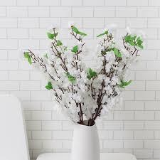 Detalles De Blanco Artificial Melocotón Flor Rama Seda Flor Árbol Planta Jardín Decoración