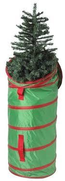 Upright Christmas Tree Storage Bag Foyer Decorated
