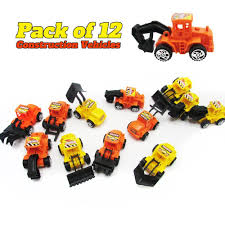 Amazon.com: 12 Pack Construction Vehicles Pull Back Style -Play ...