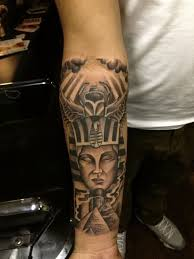 Cool 3D Like Black And White Egyptian God With Pyramids Tattoo On Arm