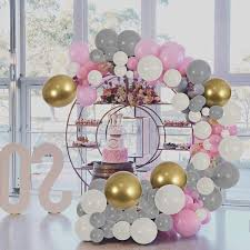White Gray Pink Gold Latex Balloons 154 Pcs DIY Garland Decorations Assorted Color For Birthday Party