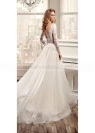 v neck long sleeves sweep train ivory lace tulle wedding dress