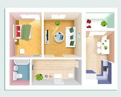 draufsicht auf moderne grafische wohnung schlafzimmer