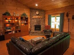 Decoration Awesome Log Cabins Interior Design Ideas Using Rustic Style Sectional Sofas Across Stacked Stone Tile