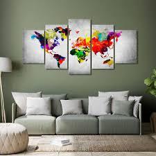 details zu landkarte leinwand bilder weltkarte abstrakt bunt groß wandbilder wohnzimmer