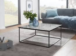 finebuy couchtisch quadratisch 80x38x80 cm mit marmor optik weiß wohnzimmertisch mit metall gestell schwarz moderner dekotisch