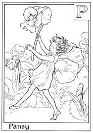 Letter P For Pansy Flower Fairy Coloring Page