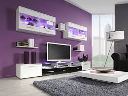 Purple And Grey Living Room Accent Wall