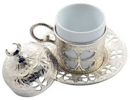 BOSPHORUS Silver 16 Pieces Turkish Greek Arabic Coffee Set With Cups Saucers Copper Pot