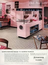 Retro Pink Kitchen Brick Lineoleum Floor March 1956