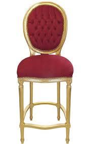 chaise bordeaux chaise de bar style louis xvi à pompon velours bordeaux et bois doré