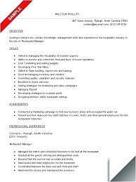 Resume Profile Examples Restaurant Plus Sample For Waitress Free Template Samples Waiter Server