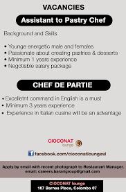 chef de partie en cuisine assistant to pastry chef chef de partie vacancy in sri lanka