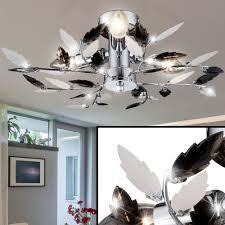 details zu deckenleuchte wohnzimmer chrom beleuchtung flur deckenle blätter 40 cm licht