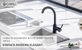 gimili wasserhahn küche küchenarmatur schwarz waschbecken