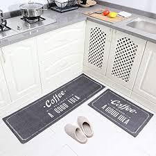 carvapet 2stk küchenläufer waschbar rutschfest küchenmatte küchenteppich waschbar teppich läufer küche fußmatte badematten set kaffee grau