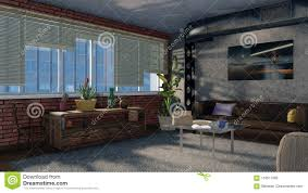 100 Loft Apartment Interior Design Modern 3D Render Stock
