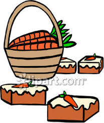 Carrots In a Basket and Slices of Carrot Cake Royalty Free Clipart Picture