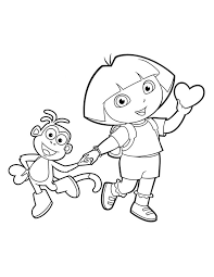Boots And Dora Valentines Coloring Page Day
