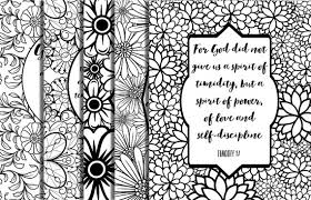 5 Bible Verse Coloring Pages Floral Frames Inspirational Quotes Adult DIY Instant Download Printable Party Family Activities