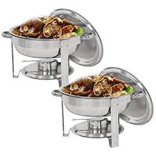 SUPER DEAL Pack Of 2 Round Chafing Dish 5 Quart Stainless Steel Full Size Tray Buffet