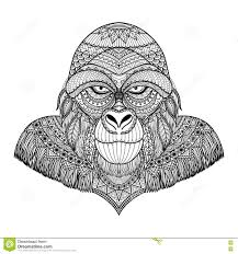 Clean Lines Doodle Design Of Gorilla Head For Adult Coloring Pages