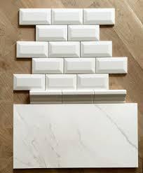 preparing for the tile install today white beveled subway tile