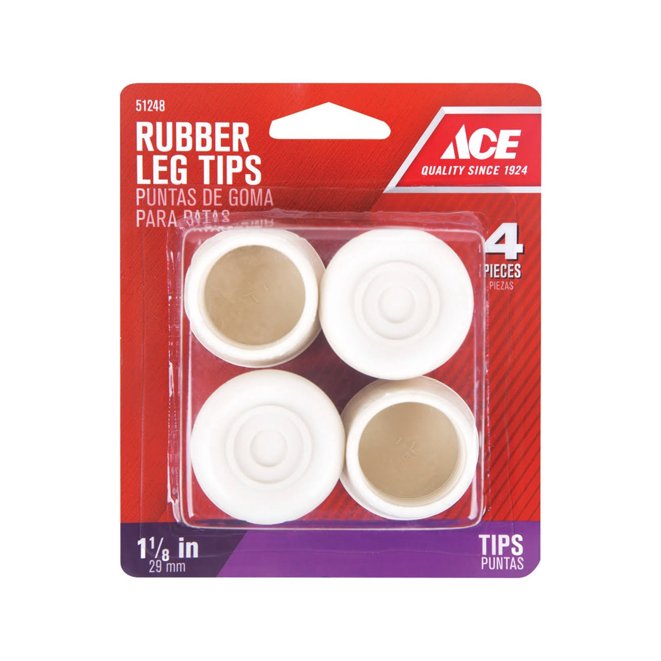 "Ace 51248 Rubber Tips Caster Cups, 1-1/8"" - 4 pack"