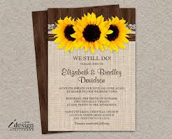 DIY Rustic Sunflower Vow Renewal Invitation Printable Country