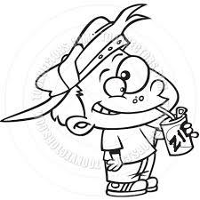 Cartoon Boy Drinking Soda Black and White Line Art
