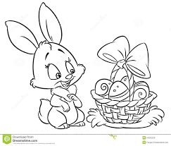 Stock Illustration Happy Easter Coloring Cartoon Bunny Pages