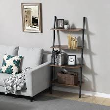 vasagle standregal leiterregal wandregal mit 4 ebenen industrie design bücherregal anstellregal wohnzimmer küche büro eisen stabil schräg