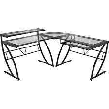 Black Glass Corner Computer Desk by Amazon Com Z Line Belaire Glass L Shaped Computer Desk Kitchen