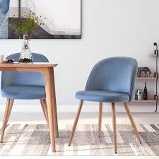 blau esszimmerstühle 2 stk set wohnzimmerstuhl polsterstuhl stoffkissen holzernen beinen