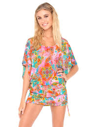 luli fama short beach cover up with batwing sleeves dress boho chic
