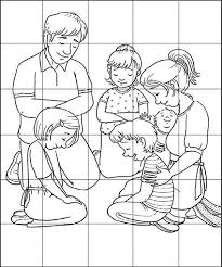 Family Praying Puzzles Coloring Page