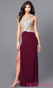 wine and gold mock two piece prom dress promgirl