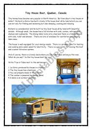 100 Boat Homes Tiny House Reading Speaking ESL Worksheet By