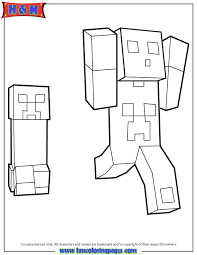 Creeper Chasing Minecraft Player Coloring Page